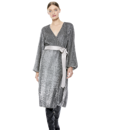 Anee Embell Wrap Dress | Silver