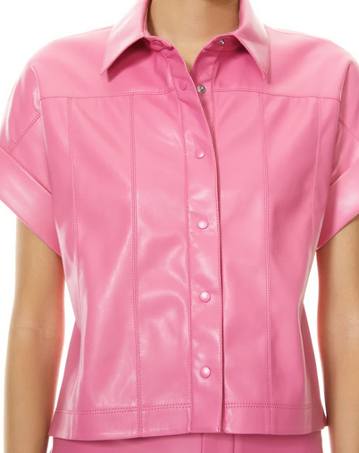 Edyth Vegan Leather Top | Calypso Pink