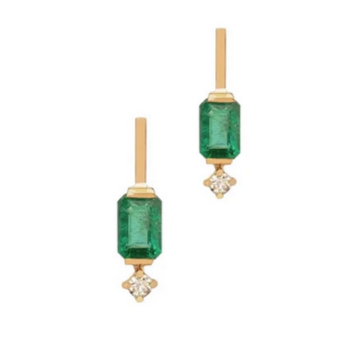 Emerald + Diamond Mini Awakening Earrings (SET)
