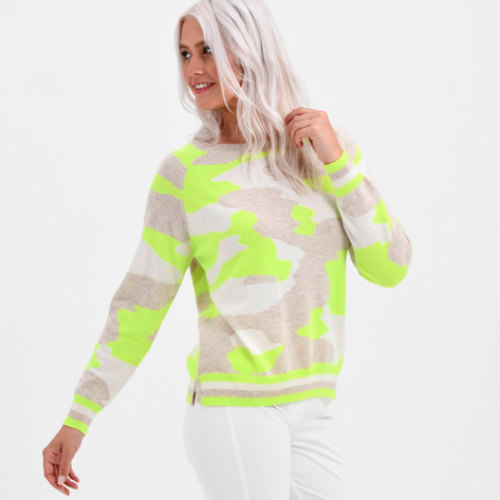 The Snowy Camo Cashmere Sweater | Neon