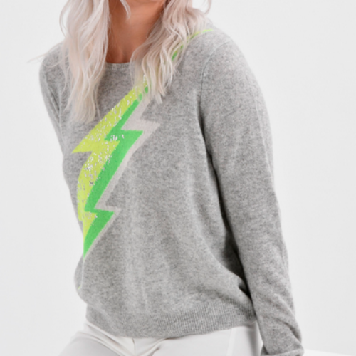 Stormy Cashmere Sweater | Lightening Bolt Grey