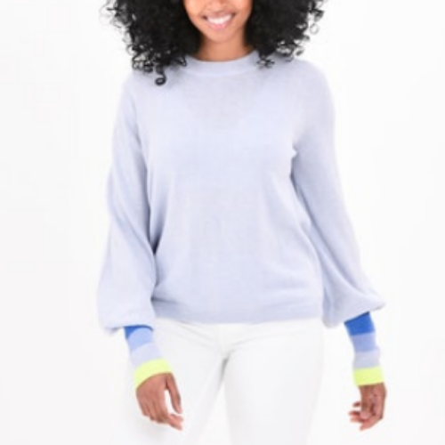 Bijou Rainbow Cuff Sweater | Frost Blue