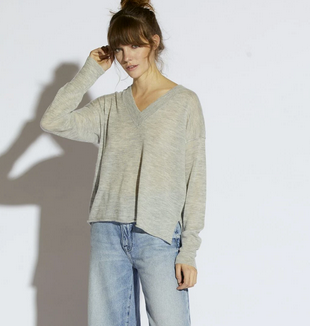 Keva V Neck Sweater | Oxford Grey