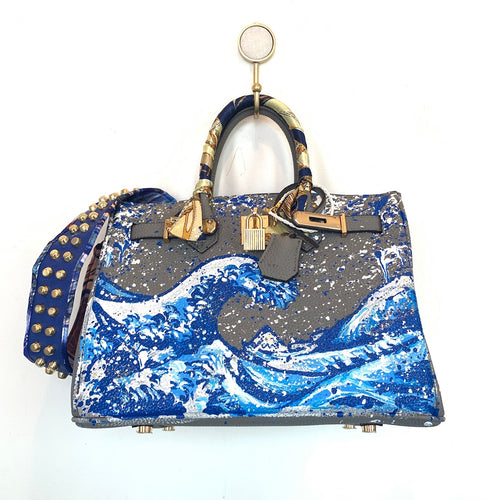 Blue Wave Painted Bag | Grey | Large