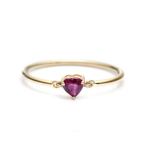 Ruby Heart Petite Circle Rings