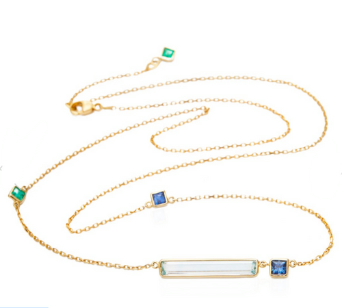 Aquamarine with Emerald and Sapphire Bar Necklace