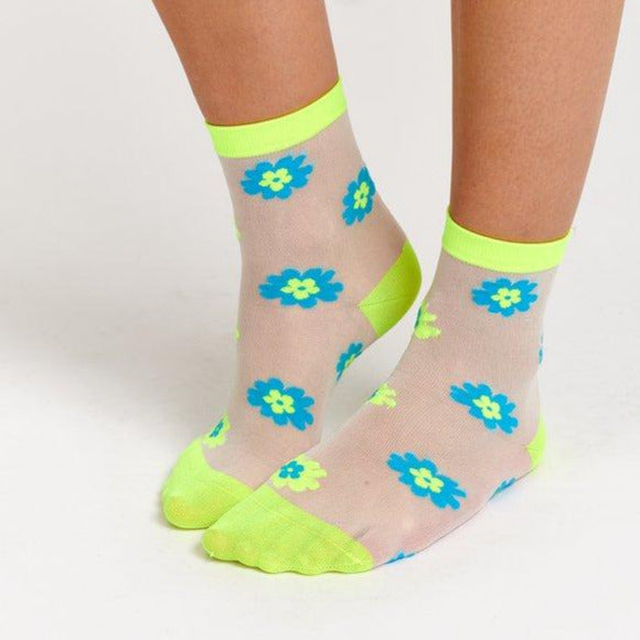 Vifi See Through Flower Socks | Neon Yellow