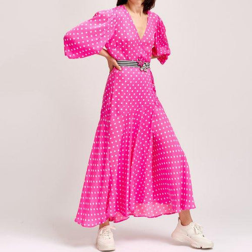 Vundamental Long Wrap Dress | Pink Polka Dot