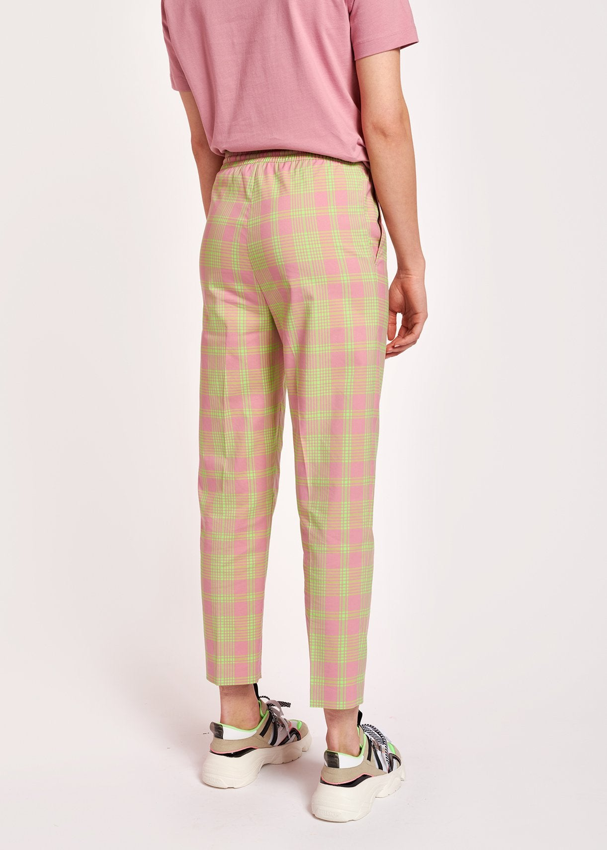 Whoever Straight Legged Pant | Dusty  Pink Plaid