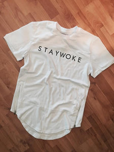 White Stay Woke Fashion Tee (With Zipper) - WOKE