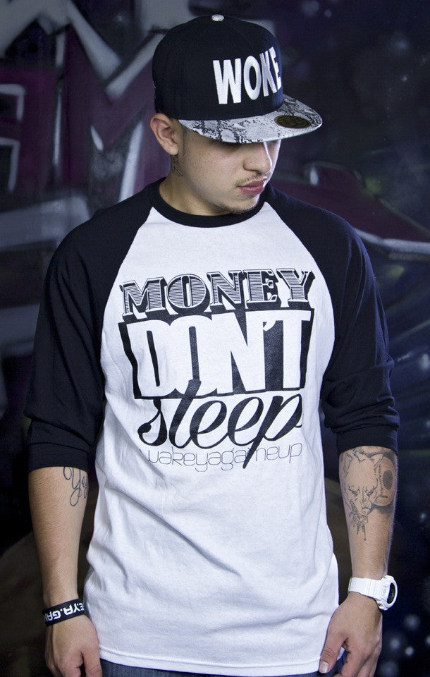 Money Don't Sleep Raglan 3/4 (White/Black) - WOKE