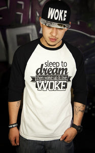 Dream Raglan 3/4 (White/Black) - WOKE