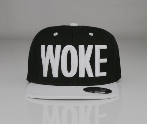 Black and White 3D LA Letter Woke Snapback - WOKE