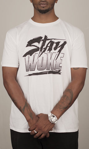 Stay Woke Stripes White Tee - WOKE