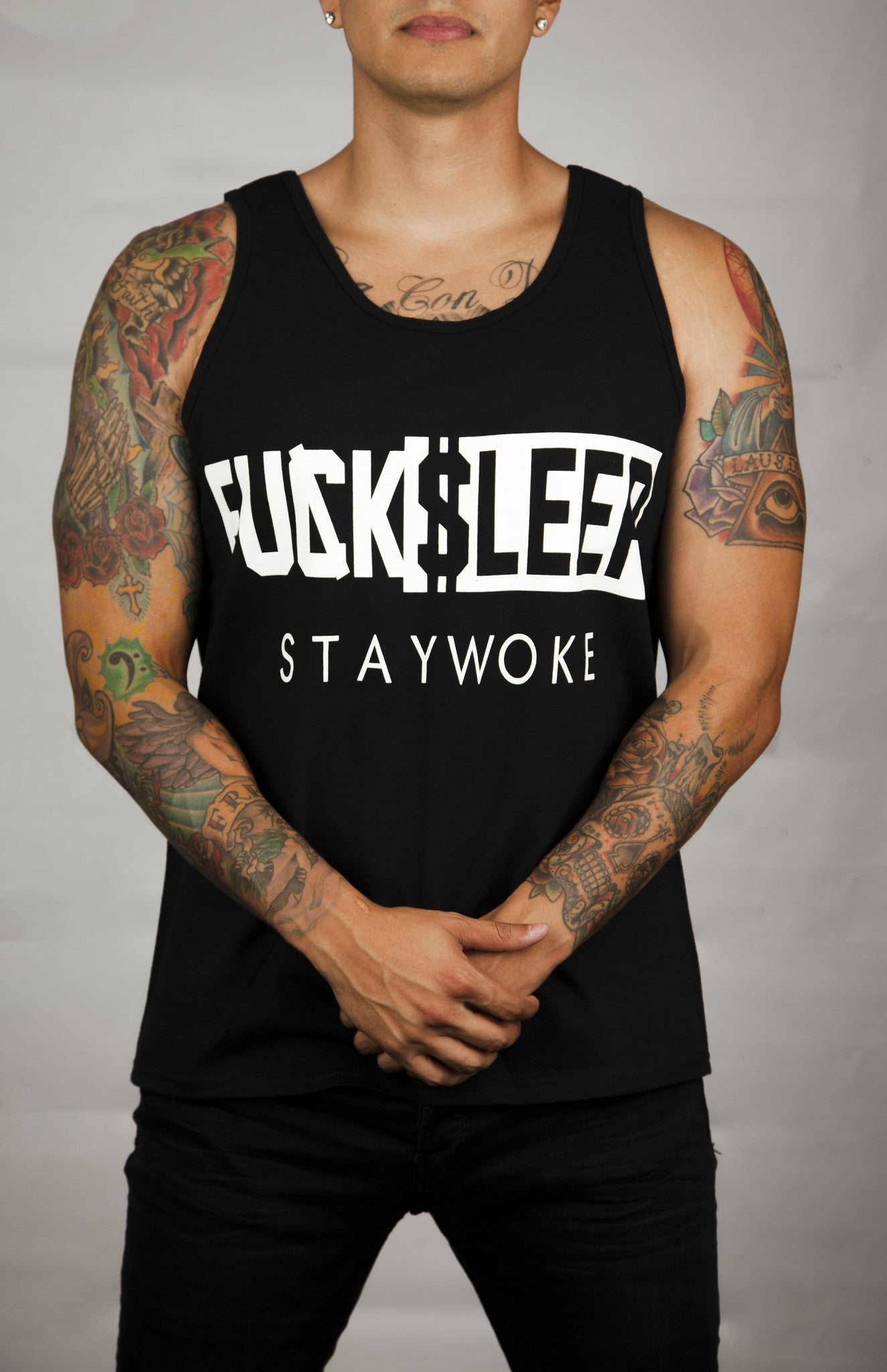 F*CK SLEEP STAY WOKE BLACK TANK - WOKE
