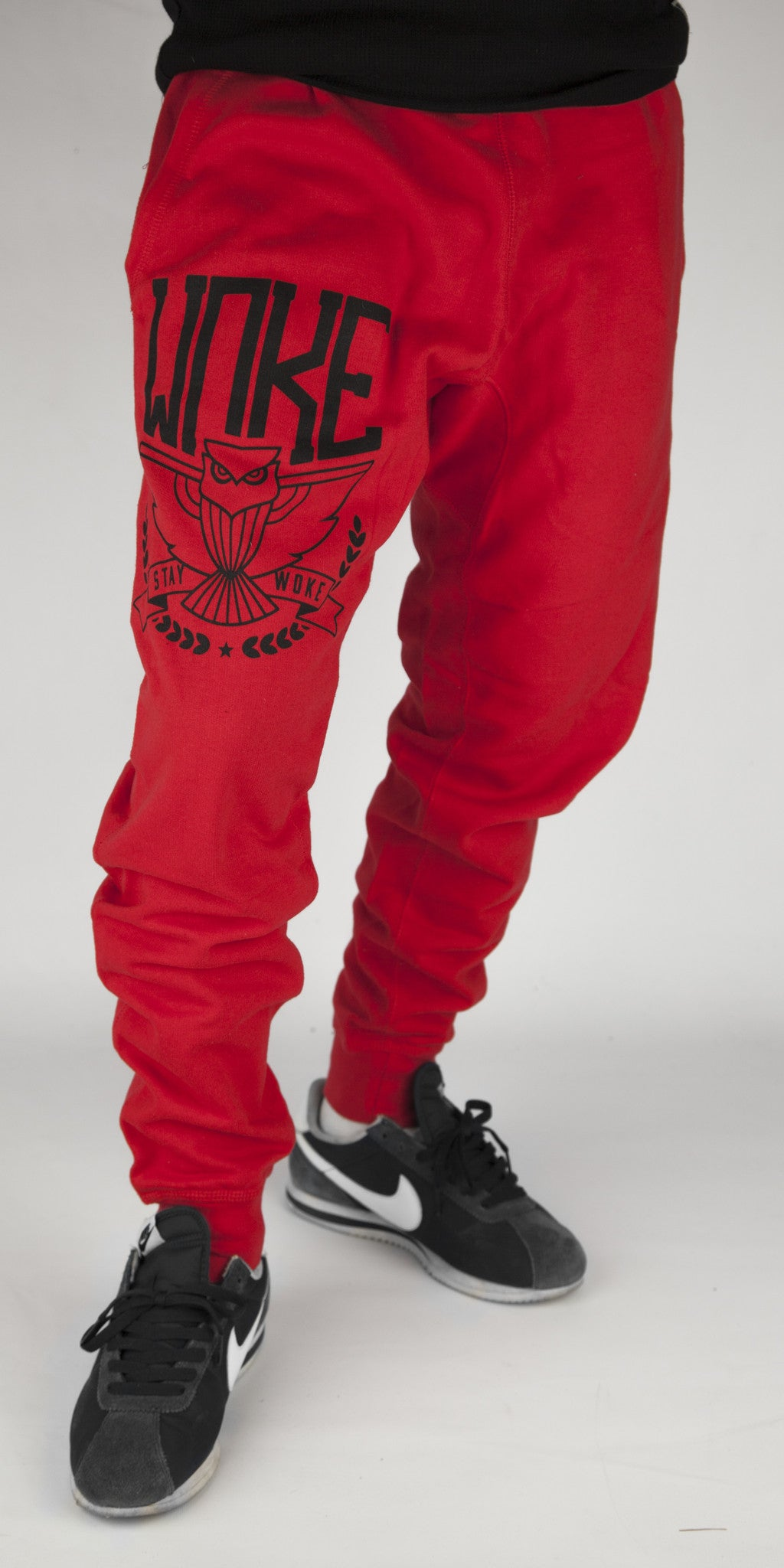 Stay Woke Emblem RED Joggers - WOKE - 1