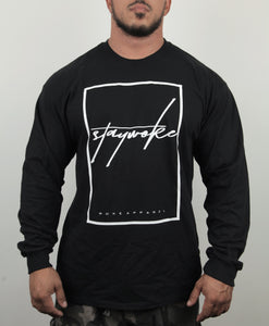 Stay Woke Cursive Long Sleeve Shirt (Black) - WOKE