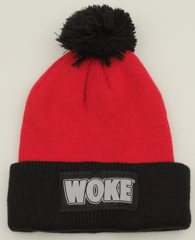 Red / Black Pom Patchway Woke Beanie - WOKE