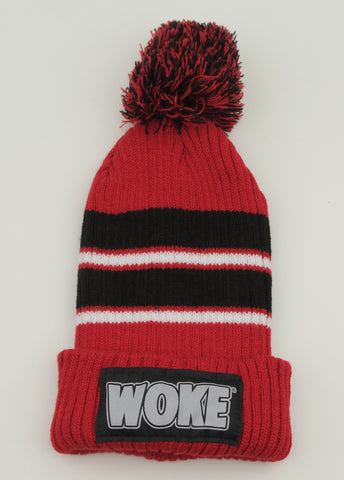 Red / Black Stripe Pom Patchway Woke Beanie - WOKE