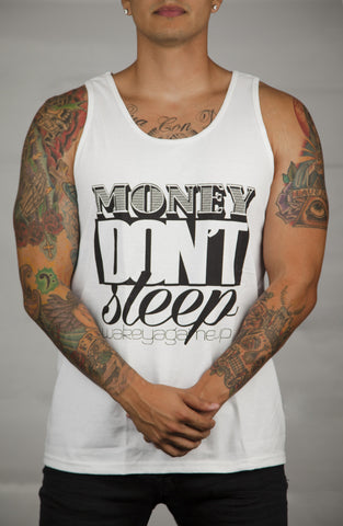 Money Don't Sleep Tank (White/Black) - WOKE