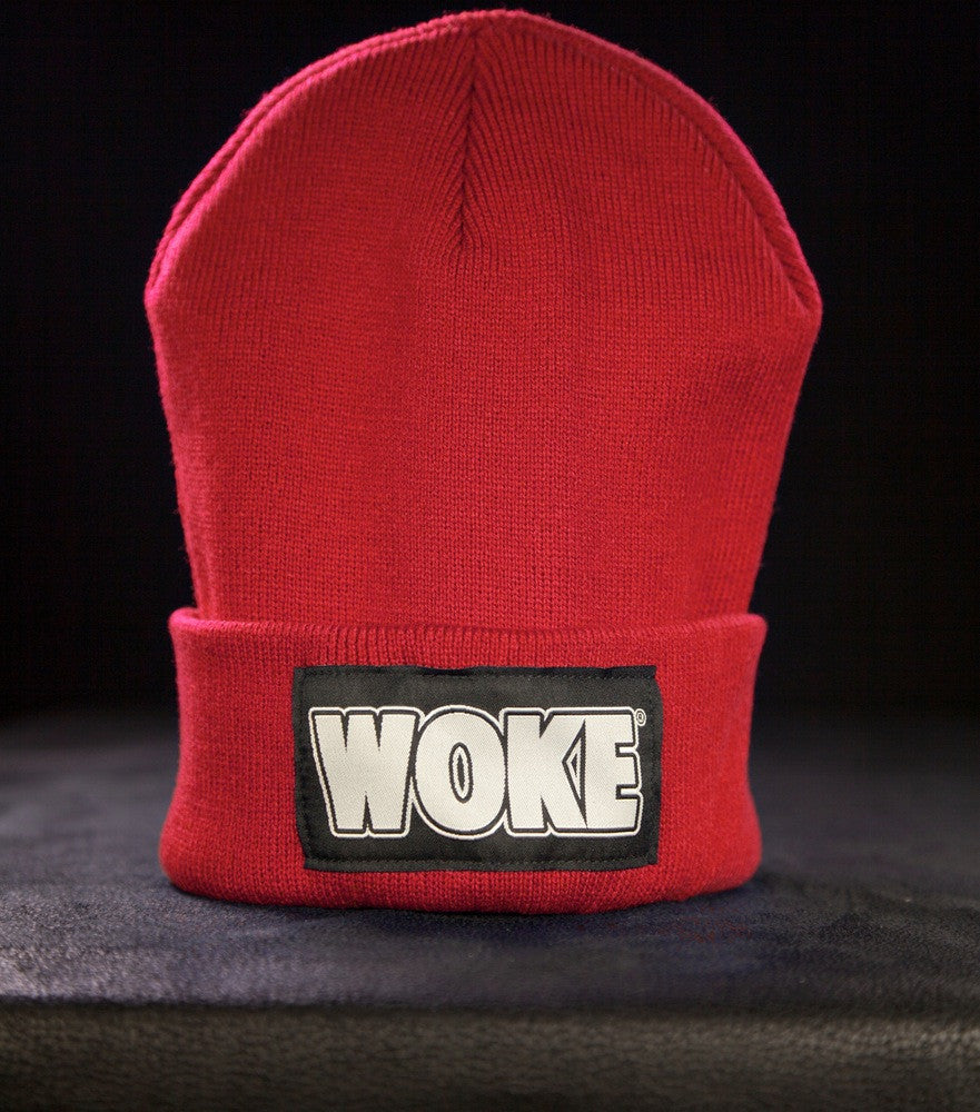 Red Patchway Beanie - WOKE