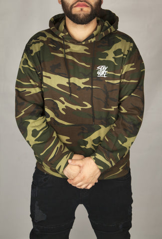 Stay Woke Embroidered Camo Hoodie