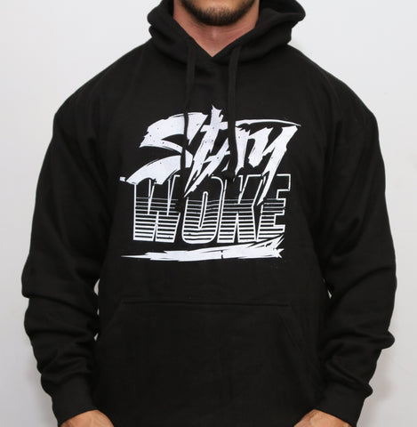 Stay Woke Striped Black Hoodie - WOKE