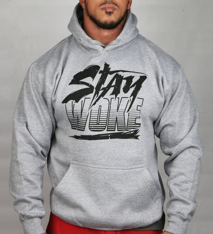 Stay Woke Striped Gray Hoodie - WOKE