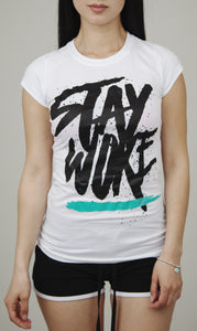 Stay Woke Limited Edition Female Tee [White] - WOKE