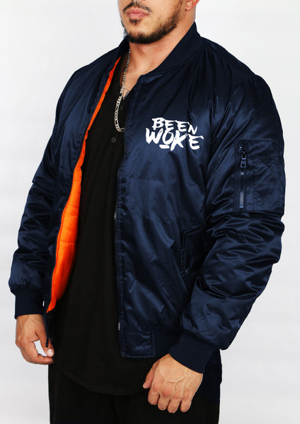 """Don't Sleep"" Bomber Jacket - Navy - WOKE - 1"