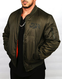 """Don't Sleep"" Bomber Jacket - Olive - WOKE - 1"