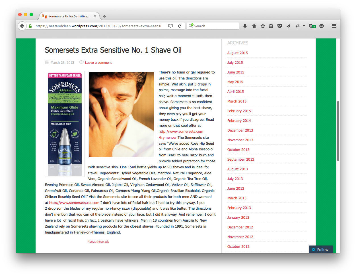 neatandclean.com tries Somersets Oil