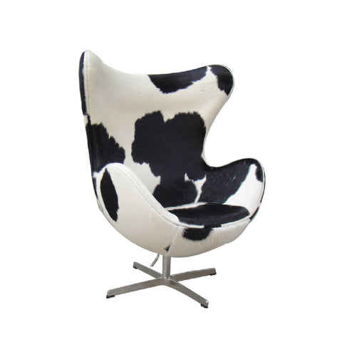 Faux Cow Hyde Egg Chair