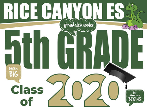 Rice Canyon Elementary School 5th Grade Graduation Yard Sign