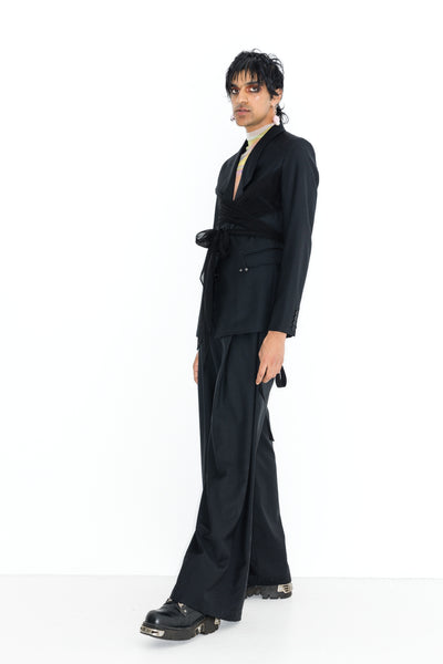 FALCONBERG BLAZER WITH WRAP//1999 MESH TOP//SQUARE MILE PANT