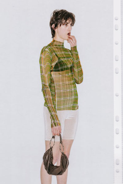 1999 Silk Mesh Top - Plaid Print