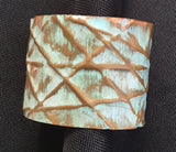 2 inch turquoise painted patina form-folded cuff