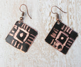 black etched slanted square 4 dashes pattern  copper earring