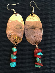 Solid hammered oval with turquoise and coral beading at bottom