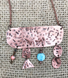 One of a kind stamped rectangle with 4 cascading bangles and beads necklace no 2 the same