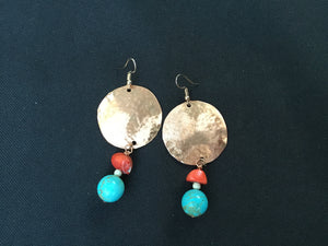 Rodeo Solid Copper & Turquoise Bead Earrings