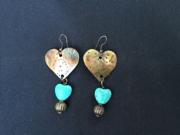heart shaped earring with heart turquoise bead at the bottom
