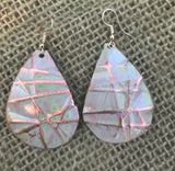 Sandstone large teardrop form folded  copper earrings