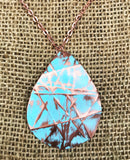 large turquoise teardrop dorm-folded 3 inch in length necklace