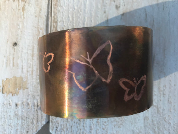 butterfly etched copper 1 1/2 wide cuff