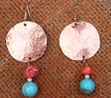 round hammered solid copper on top and coral and round turquoise beaded on bottonm earring