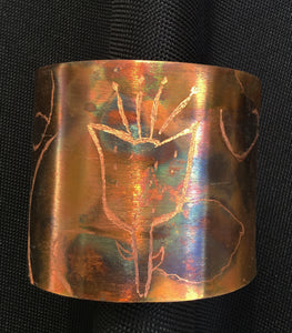 tulip pattern on a flamed 2 1/4 wide copper cuff