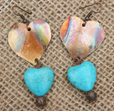 heart design of copper flame painted and turquoise  heart bead on bottom earring
