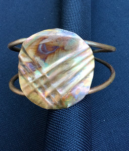 Round form-folded flame painted cuff with 2 wires for the cuff