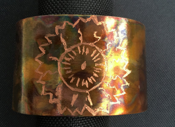 Zinnia Etched Copper Cuff